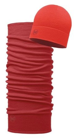 Zestaw: Chusta Midweight Merino Wool Buff Solid Cranberry Red + Czapka Midweight Merino Wool Solid Cranberry Red