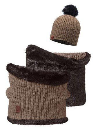 Zestaw: Buff Czapka Adalwolf Brown Taupe + Collar Neckwarmer Buff Adalwolf Brown Taupe