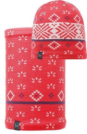 Buff Czapka Knitted & Polar Jorden Coral + Komin Neckwarmer Buff Knitted Polar Fleece JORDEN CORAL