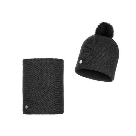 Zestaw Komin i Czapka Buff Knitted & Fleece Hat Disa BLACK