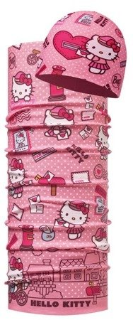 Zestaw: Chusta Child Original Buff® HELLO KITTY MAILING ROSE + Czapka Junior z Microfibry i Polaru HELLO KITTY MAILING ROSE