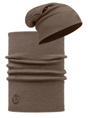 Zestaw: Komin Neckwarmer Merino Wool Buff Solid Walnut Brown + Buff Czapka Merino Wool Buff Solid Walnut Brown