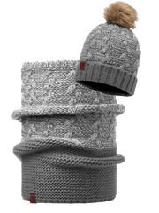 Zestaw: Buff Czapka Knitted Polar Kiam Grey+ Komin Collar  Buff Knitted Kiam Grey